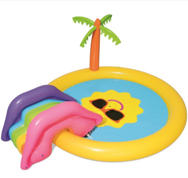 inflatable smileface swimming pool with slide