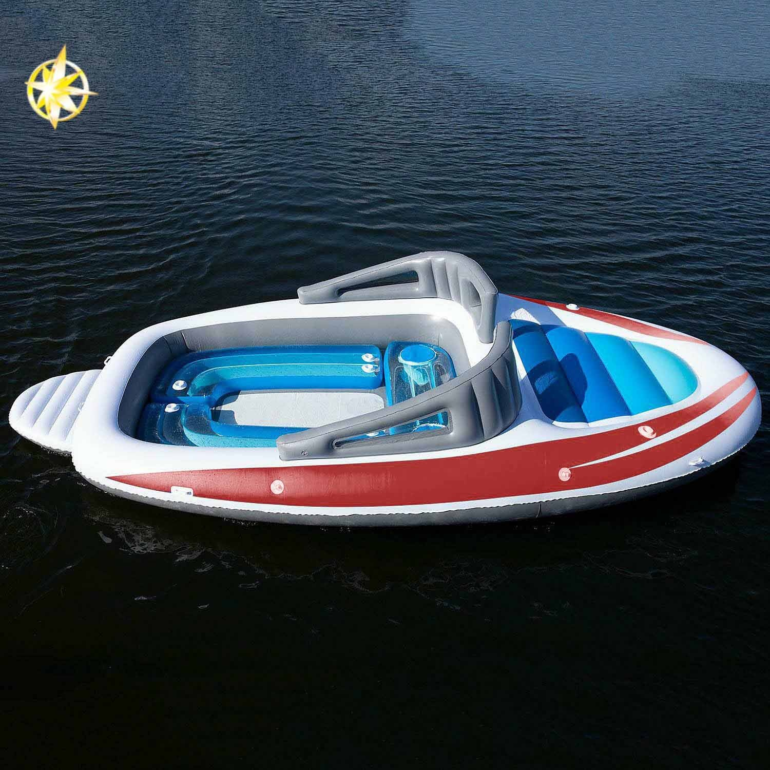 6 people huge party island inflatable boat lake pool float lounge