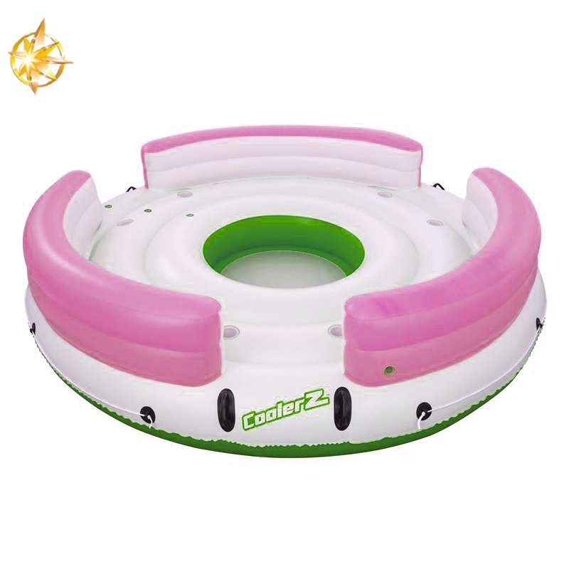 6 people inflatable island with chair hugely wheel inflatable boat water toy lake raft