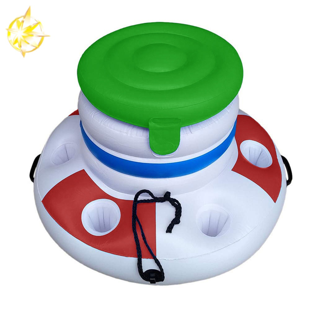 Inflatable Ice Bucket Floating Island Beer Drink for water party swimming pool three color